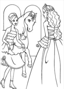 coloriage barbie à cheval de la catégorie coloriage barbie