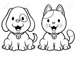 dessin à imprimer chien et chat de la catégorie coloriage chien