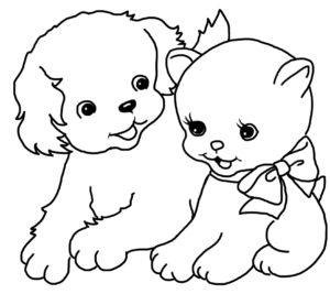 coloriage de chat et chien mignon de la catégorie coloriage chien