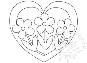 coloriage à imprimer coeur et fleurs de la catégorie coloriage coeur