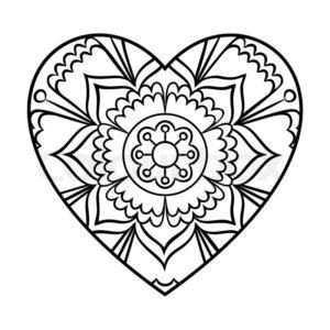 coloriage coeur mandala de la catégorie coloriage coeur