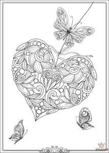 coloriage papillon coeur à imprimer gratuit de la catégorie coloriage coeur