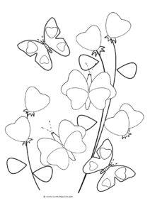 dessin coloriage coeur et fleur de la catégorie coloriage coeur