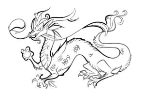 coloriage dragon chinois facile de la catégorie coloriage dragon