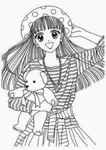 coloriage fille ado manga de la catégorie coloriage fille