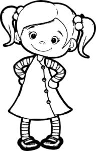 coloriage petite fille à imprimer de la catégorie coloriage fille