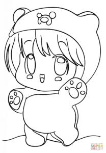 coloriage petite fille kawaii de la catégorie coloriage fille