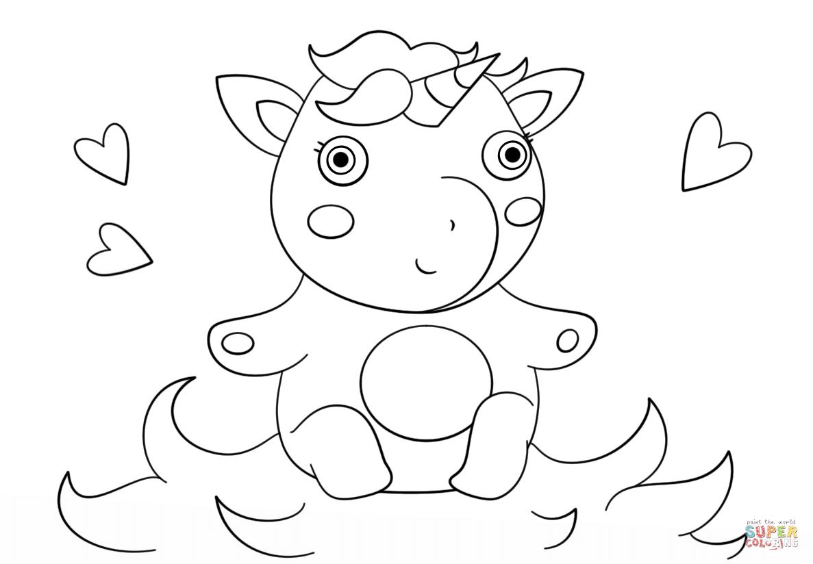 coloriage kawaii fille licorne a imprimer de la catégorie coloriage fille