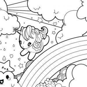 coloriage kawaii fille licorne de la catégorie coloriage fille