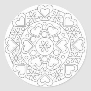 coloriage mandala fleur et coeur de la catégorie coloriage fleur