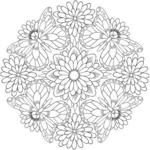 coloriage mandala fleur et papillon de la catégorie coloriage fleur