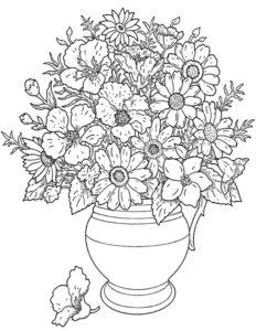 coloriage bouquet de fleur à imprimer de la catégorie coloriage fleur