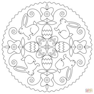 coloriage paques lapin mandala de la catégorie coloriage lapin