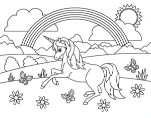 coloriage licorne arc en ciel à imprimer de la catégorie coloriage licorne
