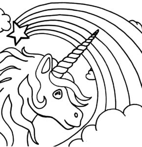 coloriage licorne arc en ciel de la catégorie coloriage licorne