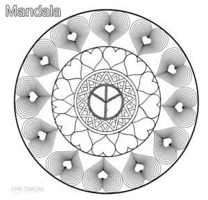coloriage mandala avec des coeurs de la catégorie coloriage mandala