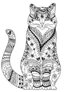 coloriage mandala difficile chat de la catégorie coloriage mandala