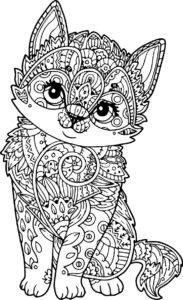 coloriage mandala chat de la catégorie coloriage mandala