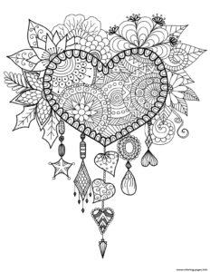 coloriage de mandala de coeur a imprimer de la catégorie coloriage mandala