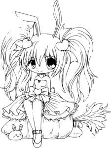 coloriage manga kawaii de la catégorie coloriage manga