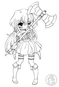 coloriage manga fille chibi de la catégorie coloriage manga