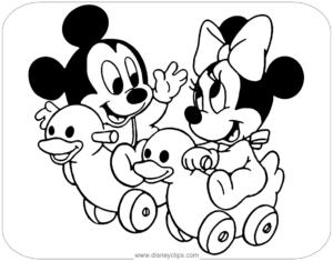 coloriage de mickey et minnie bébé à imprimer de la catégorie coloriage mickey