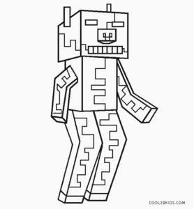 coloriage minecraft cochon zombie de la catégorie coloriage minecraft