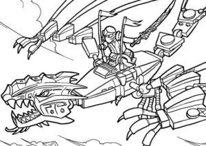 coloriage ninjago avec dragon de la catégorie coloriage ninjago