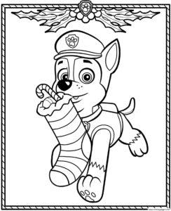 coloriage pat patrouille noel à imprimer de la catégorie coloriage pat patrouille