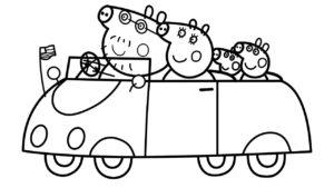 coloriage peppa pig voiture de la catégorie coloriage peppa pig