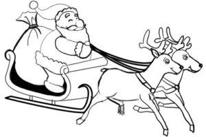 dessin traineau pere noel avec rennes facile de la catégorie coloriage pere noel