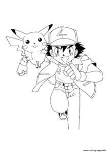 coloriage de sacha et pikachu a imprimer de la catégorie coloriage pikachu