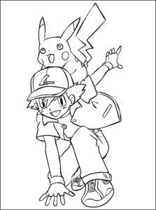 coloriage pikachu et sacha a imprimer de la catégorie coloriage pikachu