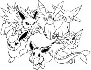 coloriage pokemon famille evoli a imprimer de la catégorie coloriage pokemon
