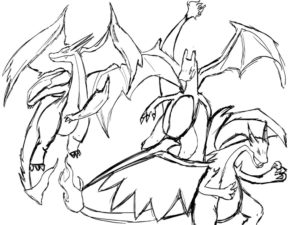 coloriage pokemon mega evolution dracaufeu de la catégorie coloriage pokemon