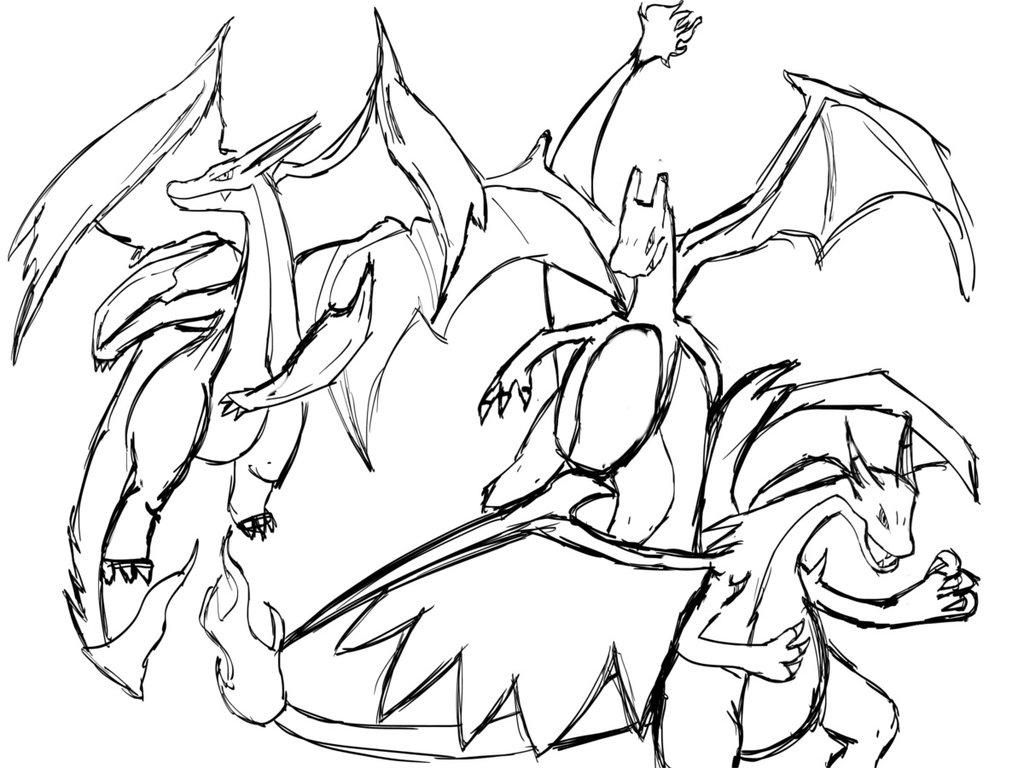 coloriage pokemon mega evolution dracaufeu de la catégorie coloriage pokemon