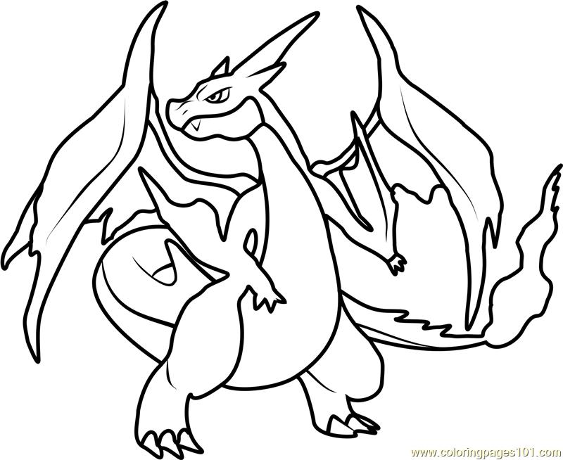 coloriage pokemon mega dracaufeu y de la catégorie coloriage pokemon