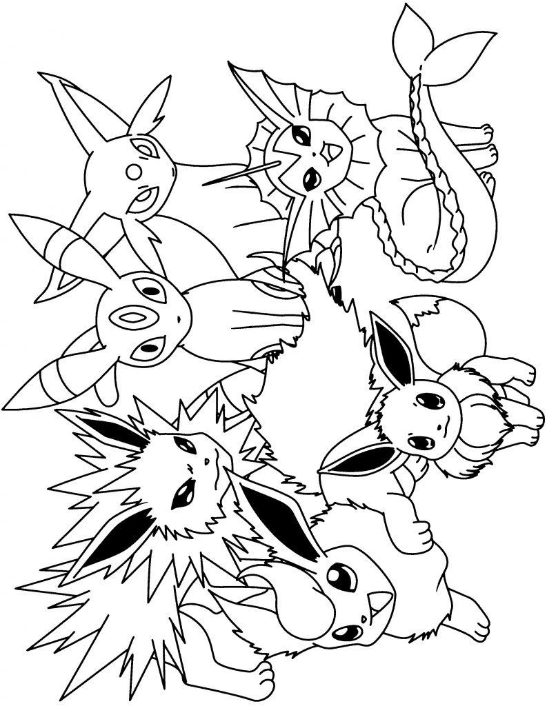 dessin pokemon evoli et ses evolution en couleur de la catégorie coloriage pokemon