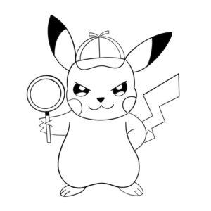 coloriage pokemon pikachu detective de la catégorie coloriage pokemon