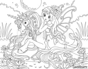 coloriage de princesse sur une licorne de la catégorie coloriage princesse