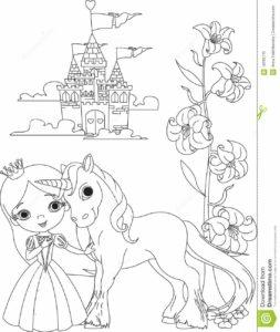 dessin à colorier princesse et licorne de la catégorie coloriage princesse