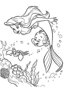 coloriage arielle petite sirène imprimer de la catégorie coloriage sirene